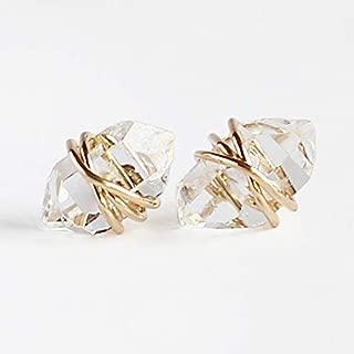 Medium Herkimer Diamond Stud Earrings, Gold