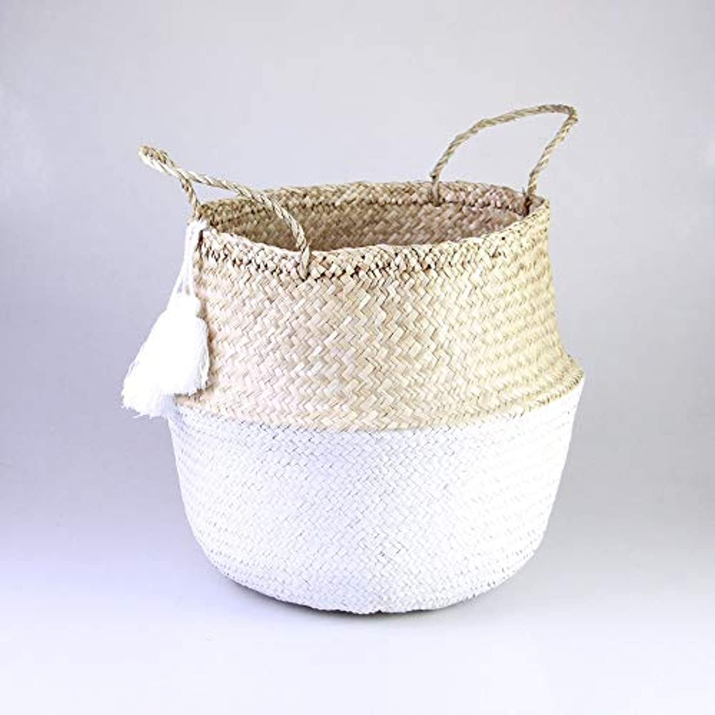 Leonard & Hazel Seagrass Belly Basket with Dipped White Bottom and 3 White Tassels (Large)