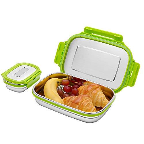 G.a HOMEFAVOR Caja de Almuerzo Fiambrera Acero Inoxidable Bento de Comida Contenedor de Alimentos para Niños o Adultos 2 Piezas, 180ml + 950ml, Verde