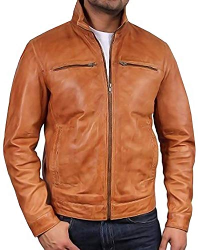 Brandslock Mens Leather Biker jacket Coat Designer Medium Tan
