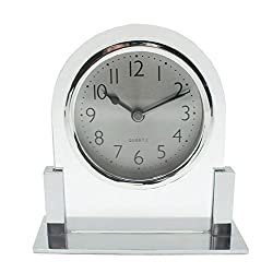 MUMUWIND Glass Table Clock Ultra-Quiet Metal Small Alarm Clock,