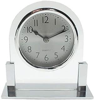 MUMUWIND Glass Table Clock Ultra-Quiet Metal Small Alarm Clock,