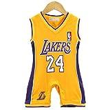 AIALTS Bebé Lakers 24 Camiseta De Baloncesto Bryant, Infantil Baloncesto del Mono Traje De Rastreo Niño Amarillo,73CM