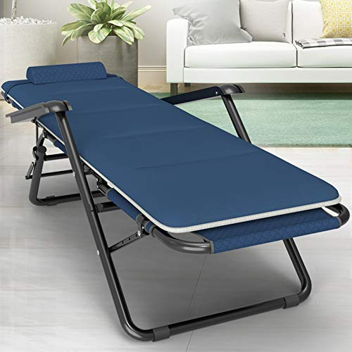 Olz Metal Sun Lounger, Folding Sunbed Garden Chair, With Breathable Synthetic Fabric, Footrest 3 Position Adjustment, Static Load Max 150 kg/330 lb,178 x 60 x 35cm,Blue