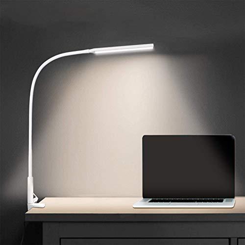 Lámpara Escritorio LED Pinza, ADISTAR 10W Lámpara de Mesa Flexible, Lampara Cuello de Cisne, 360° Cuello Flexible, Protección Ocular, 3 Modos,10 Brillo Ajustable, Lámpara de Lectura Pinza (blanco)