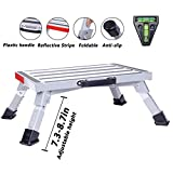 Homeon Wheels Stable RV Steps Adjustable Height Aluminum Folding Platform Step with Non-Slip Rubber Feet, Reflective Stripe, Handle, RV T Level, More Stable Up to 1000 lbs 16.5' x 12.2' RV Step Stool