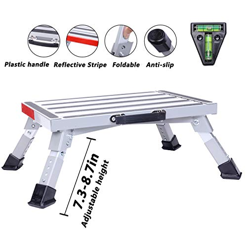 """Homeon Wheels Stable RV Steps Adjustable Height Aluminum Folding Platform Step with Non-Slip Rubber Feet, Reflective Stripe, Handle, RV T Level, More Stable Up to 1000 lbs 16.5"""" x 12.2"""" RV Step Stool"""