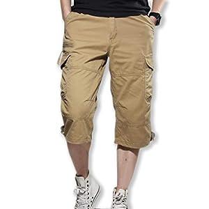[モルクス] パンツ ズボン カーゴ コットン ハーフ 七分丈 ポケット カジュアル (カーキ、ブラック、グレー、グリーン) M~XXXL メンズ (XX-Large, カーキ)