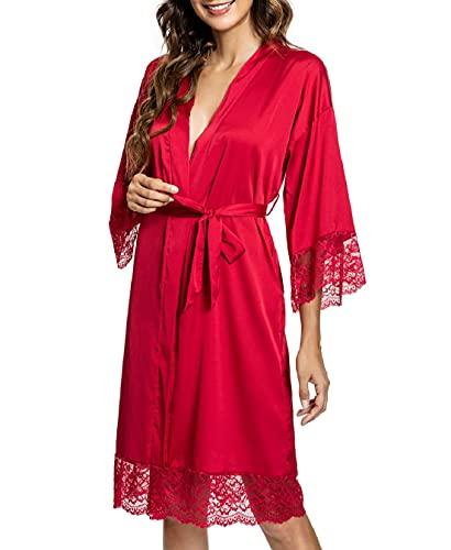 Voqeen Robe de Chambre Satiné en Dentelle Chemise de Nuit Nuisette Femme Élégant Kimono Peignoir Satin pour Fête Mariage Pyjama Quotidien-B04-rouge-L
