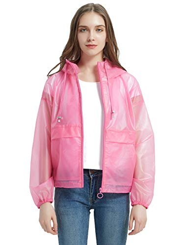 Bellivera Women's EVA Transparent Coats with Hood/Non-Disposable Rain Coat,The Lightweight Jacket Water Resistant Pink Medium