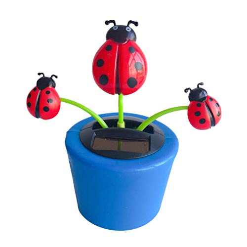 FXXX Solar Dancing Flower Toy Solar Powered Dancing Ladybug in Colorful Pots No Battery Required Portable Window Sun Catcher Car Dashboard Decor