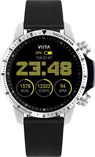 Viita Watch Active HRV Tachymeter mit Silikon-Armband, silber/schwarz