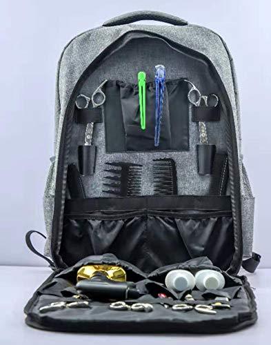 Mochila de barbero portátil-estuche de viaje de estilista de pelo, bolsa de herramientas de maquillaje mochila de viaje multifunción organizador de cosméticos caja de almacenamiento (gray)