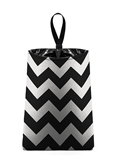 The Mod Mobile Auto Trash (Chevrons - Black and White) by car trash bag litter bag garbage can for your automobile