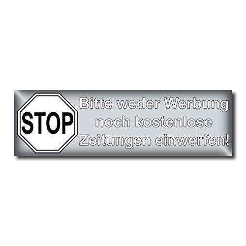 GreenIT 10 Stück Stop Bitte Keine Werbung und kostenlose Zeitungen einwerfen Aufkleber Sticker Hinweis Briefkasten