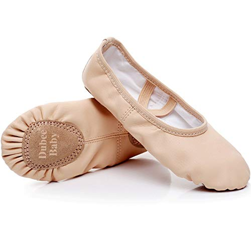 DubeeBaby Ballet Shoes Slippers Leather Split Sole Flats for Girls(Toddler/Little Kid) Classic Nude Foot Length 5.7 inch-Toddler 8M
