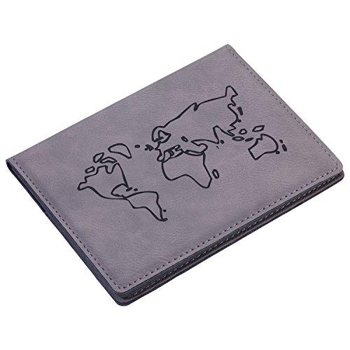 Troika Reisepasshülle mit Ausleseschutzfolie (für RFID-Chips), 3 Innenfächer, Kunstleder/Samt, grau/schwarz