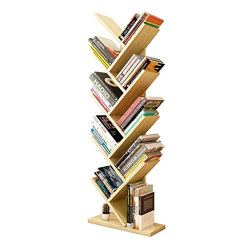Estante de librería Estantería de nueve capas libros en forma de árbol de libros de cd Soporte de pantalla de madera Estantería de madera puede soportar 50kg de visualización de libros (Color: Amarill