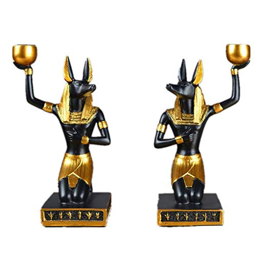 Escultura Estatua Statue Anubis Statue & Sculpture Dog God Candlestick Resin Craft Egyptyske Styl Woondekoraasje Accessoires 2 Stks/Set, Multi
