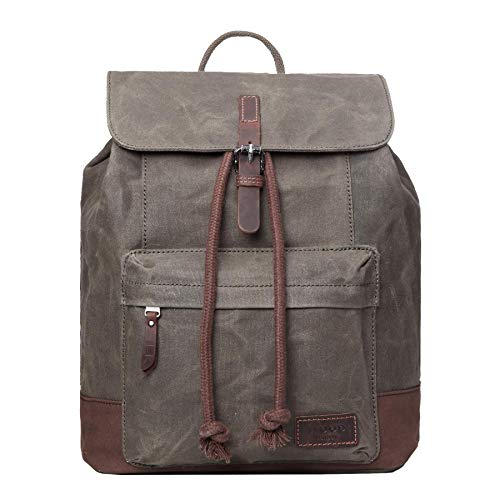 TRP0442 Troop London Heritage Canvas Leather Laptop Backpack, Smart Casual Daypack, Tablet Friendly Backpack (Olive)