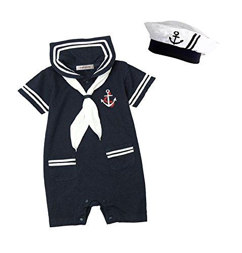 stylesilove.com Baby Boy Marine Sailor Cotton Romper Onesie with Hat...