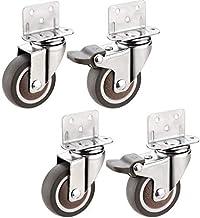 Zwenkwielen wielen L Type rubberen zwenkwielen met remmen voor meubels |For Flower Stand Babybedje Tafel Mute 4 stuks Zwa...