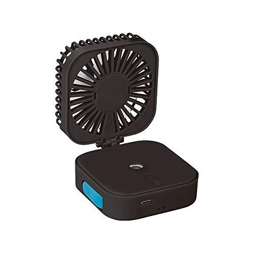 Jmk - Humidificador de aire, difusor de aromaterapia, difusor USB, pequeño ventilador para colgar el cuello, ventilador de escritorio de mano (negro)