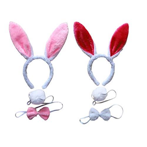 Minkissy 2 Juegos Disfraz de Conejo para Niños Diadema de Oreja Animal Pajarita Cola Disfraz de Fiesta Traje de Costume para Navidad