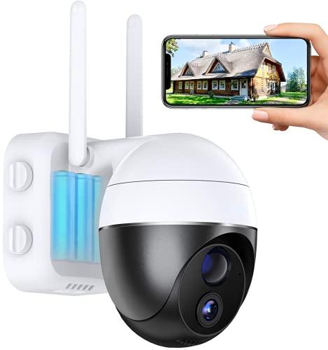 Cámara de Vigilancia WiFi Exterior con Batería de 15000mAh, Cámaras de Vigilancia 1080P, Visión Nocturna 15m, Zoom 4X, Panorámica/Inclinable de 360°, Alarma Instantánea, Detección de Movimiento