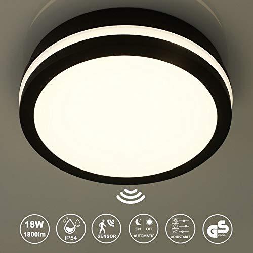 Plafonnier LED avec détecteur de mouvement, portée, seuil de temps et de crépuscule réglables, 18 W 1800 lm, 4000 K, blanc neutre, IP54, lampe de salle de bain pour salon, salle de bain, bureau