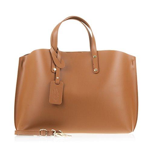 FIRENZE ARTEGIANI.borsa donna vera pelle.Borsa DONNA vera pelle autentica rifinito Tamponato design shopper.MADE IN ITALY.VERA PELLE ITALIANA.40x12x30cm.Colore: Camello