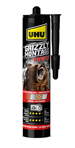 UHU 53395 Grizzly Power, Kartusche Colle, Blanc