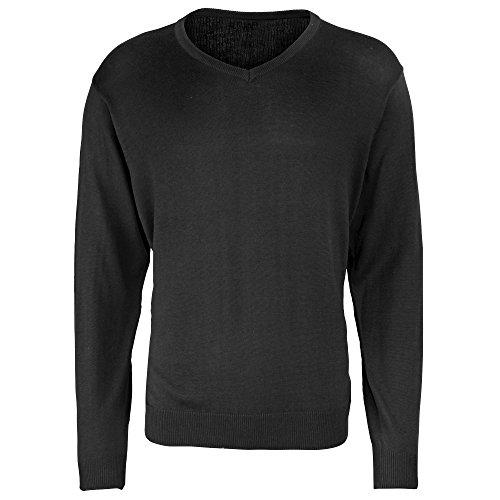 Premier -Jersey/Sweater de punto con cuello pico hombre caballero (Extra Grande (XL)/Negro)