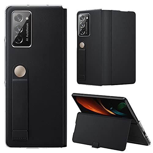 Vizvera kompatible Samsung Galaxy Z Fold 2 5G Hülle, Galaxy Z Fold 2 5G Lederhülle, Handschlaufe Halterung Hülle Superdünne, schlanke, langlebige Schutzhülle für Samsung Galaxy Z Fold 2 -Schwarz