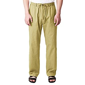 H2H Men's Casual Trousers Linen Summer Beach Drawstring Pants