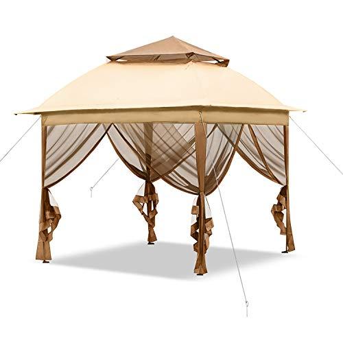 Aufun Gartenpavillon 3x3 Wasserdicht Faltpavillon aus Polyester 100%, Partyzelt mit 4 Seitenteile und Reißverschluss, UV-Schutz Gartenzelt für Garten Party Hochzeit Picknick, Beige