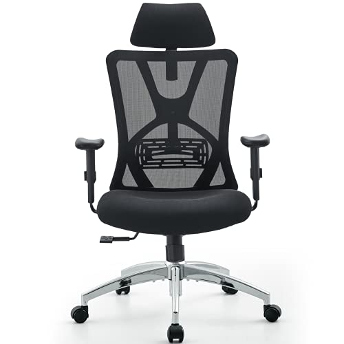 Ticova Ergonomic Office Chair - High Back Desk Chair with Adjustable Lumbar Support & Thick Seat Cushion - 130°Reclining & Rocking Mesh Computer Chair with Adjustable Headrest, Armrest