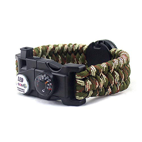 DLSM Outdoor umbrella rope braided bracelet, multi-function camping thermometer, ignition stick, LED light life-saving bracelet-2pcs-Army green camouflage