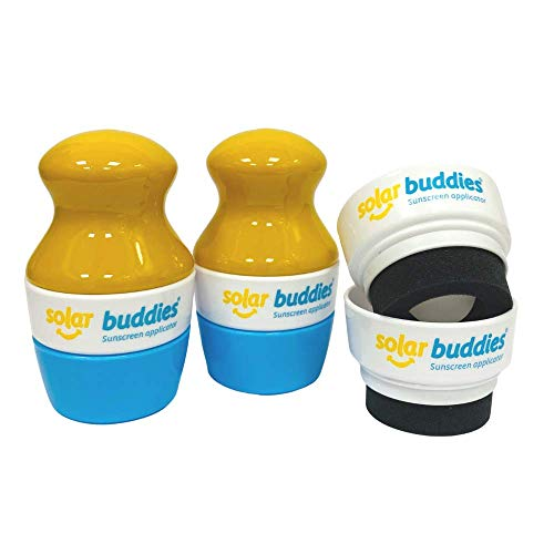 Solar Buddies Child Friendly Refillable Sunscreen Applicator with sponge roll on for kids sun cream and lotion 2 bottles & 2 heads