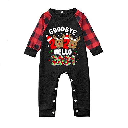 Trajes a Juego para la Familia, Christmas Goodbye 2020 Hello-2021 Print Mono para bebé pequeño Pijamas...