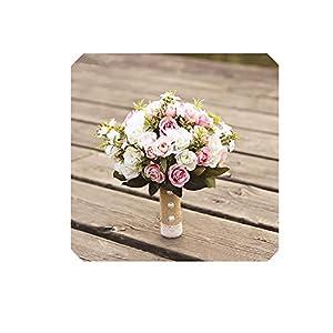 koweis Wedding Bouquet Handmade Artificial Flower Rose buque Bridal Bouquet for Wedding Decoration Ramos de Novia,Pink 2