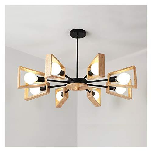 Lámparas LED de madera nórdicas Lámpara de madera maciza Simple Simple Creative Personalidad Ropa Tienda Sala Sala Comedor Habitación Lámpara de techo (Color : 8 heads)