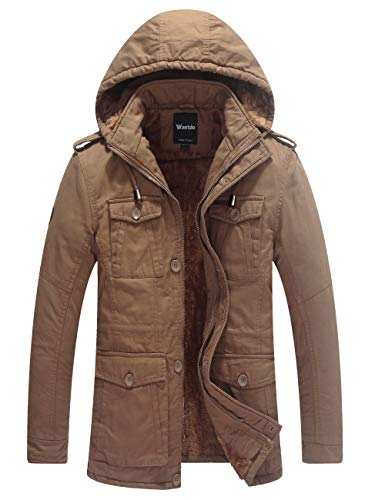 Wantdo Men's Thicken Cotton Parka Jacket Hooded Casual Winter Coat(Khaki,M)