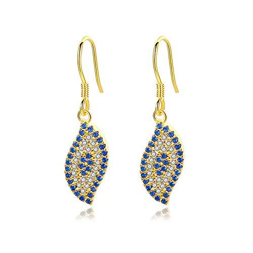 Pendientes de mal de ojo para mujer, oro amarillo, Turquía, azul, Cz 925, pendientes de gota Hippie, joyería de moda, 15mm