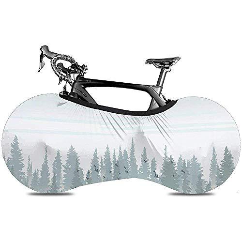 L.BAN Couverture de Roue de vélo, protéger la Couverture de vélo de Pneu de Vitesse - élan Sauvage de Wapiti Brun forêt dans Les Montagnes Silhouette Chasse
