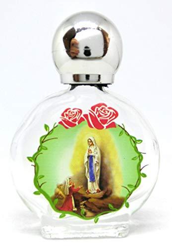 GTBITALY Maria apparizione Madonna di Lourdes Bottiglia bottiglietta in Vetro con Tappo Argento per Acqua Santa con Stampa UV Ultra violetti