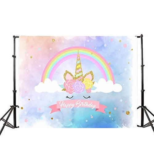LEDMOMO 3D Fondo de Foto de Unicorn Fondo de Pared Apoyos de Pared Decoraciones para Tomar Fotos 90x150cm