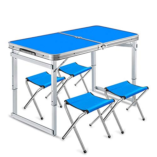 WNN-T Folding Table Portable Outdoor Table Adjustable Camping Table with 4 Chairs Portable Aluminum Table for Camping Hiking Traveling T