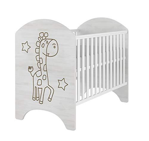 iGLOBAL Cuna de bebé, juego completo con 2 barrotes, colchón ajustable en 3 alturas, espuma y fibras de coco, 120 x 60 cm (jirafa)