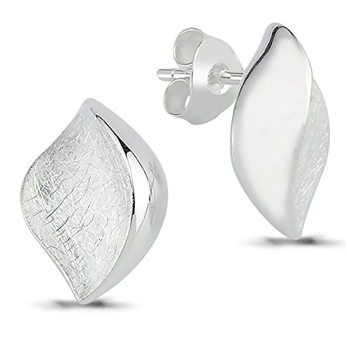 Vinani Design Ohrstecker Mandel Auge elegant geschwungen gebürstet glänzend Sterling Silber 925 Ohrringe Linse 2OSU